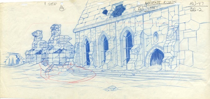Blue pencil background layout - Filmation - He-Man